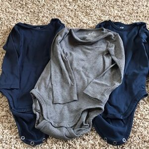 H&M organic cotton 3 pack long sleeved vests 1-2yr